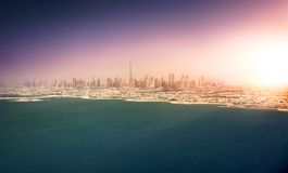 Dubai coastline at sunset. Panoramic view of Dubai from Palm Island, UAE Stock Images