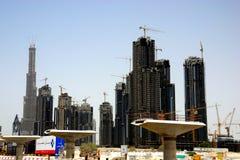Dubai construtions u. Burj Dubai Stockfotografie