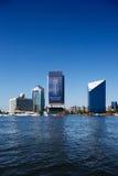 Dubai Creek摩天大楼,阿拉伯联合酋长国地平线视图  库存图片