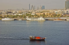 Dubai Creek. View of the Dubai creek and skyline in background Royalty Free Stock Photo