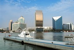 Dubai creek. Modern buildings in dubai creek side Stock Photography
