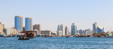 Dubai creek with abra�s or water taxi�s Royalty Free Stock Image