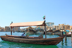 Dubai creek with abra�s or water taxi�s Stock Image