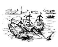 Dubai creek boats at the creek wharf. UAE - Dubai creek boats at the creek wharf vector illustration