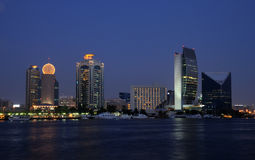 Dubai Creek buildings at dusk Royalty Free Stock Photography
