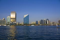 Dubai creek buildings, united arab emirates Royalty Free Stock Photography