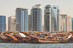 Dubai Creek with colorful dhows Royalty Free Stock Photos