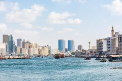 Dubai creek, Deira, United Arab Emirates. View of Dubai creek on a beautiful day, Deira district, Dubai, United Arab Emirates, UAE Stock Photos