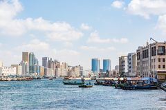 Dubai creek, Deira, United Arab Emirates. View of Dubai creek on a beautiful day, Deira district, Dubai, United Arab Emirates, UAE Stock Photography