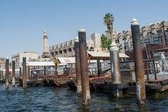 Dubai Creek docks full of boats and ships Stock Image