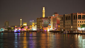Dubai Creek at Night Royalty Free Stock Image