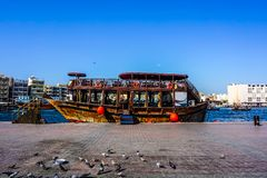Dubai Creek skeppsikt arkivbild
