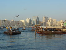 Dubai Creek. A wiew of Dubai Creek with the city in the background Royalty Free Stock Photography