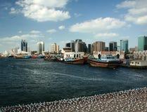 Dubai- CreekSkyline Stockbilder