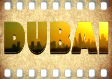 Dubai 3D illustration vintage grunge filmstrip Stock Photo