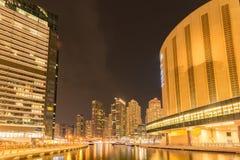 Dubai - 9 de agosto de 2014: Distrito del puerto deportivo de Dubai encendido Fotos de archivo libres de regalías