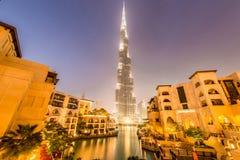 Dubai - 9 de enero de 2015: Edificio de Burj Khalifa Imagen de archivo libre de regalías