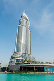 Dubai - 10 de enero de 2015: El hotel de la dirección encendido Imágenes de archivo libres de regalías
