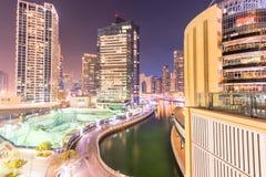 Dubai - 26 de março de 2016: Distrito do porto o 26 de março em UAE, Dubai O distrito do porto é área residencial popular em Duba Fotografia de Stock Royalty Free