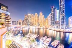 Dubai - 26 de março de 2016: Distrito do porto o 26 de março em UAE, Dubai O distrito do porto é área residencial popular em Duba Fotos de Stock Royalty Free