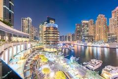 Dubai - 26 de março de 2016: Distrito do porto o 26 de março em UAE, Dubai O distrito do porto é área residencial popular em Duba Fotos de Stock