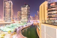 Dubai - 26 de março de 2016: Distrito do porto o 26 de março em UAE, Dubai O distrito do porto é área residencial popular em Duba Foto de Stock