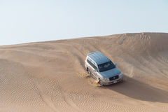 Dubai desert safari. Dune bashing in dubai desert terrain captured in july 2017 Stock Images