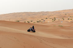 The Dubai desert trip in off-road car is major tourists attraction Royalty Free Stock Photography