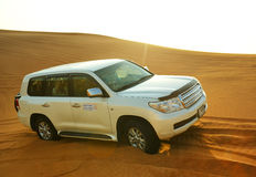 The Dubai desert trip in off-road car Royalty Free Stock Photos