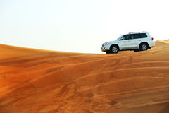 The Dubai desert trip in off-road car Stock Photo