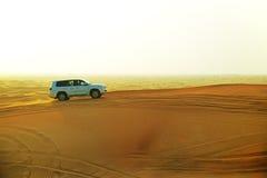 The Dubai desert trip in off-road car Stock Image