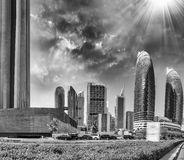 Dubai DIFC buildings in Downtown Stock Photography