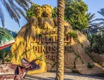 Dubai Dinosaur Park. Dubai, UAE - December 3, 2018: Fragments of moving figures of the Dubai Dinosaur Park. December 2018 stock image