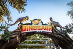 Dubai Dinosaur Park. Dubai, UAE - December 3, 2018: Fragments of moving figures of the Dubai Dinosaur Park. December 2018 stock photo