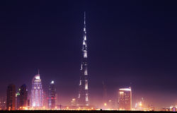 Dubai Downtown with Burj Khalifa at night Stock Photo