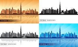 Dubai Downtown City Skyline Silhouettes Set Stock Photography
