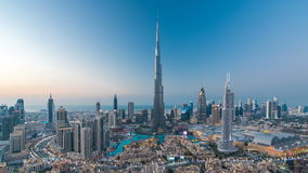 Dubai Downtown day to night timelapse view from the top in Dubai, United Arab Emirates stock video footage