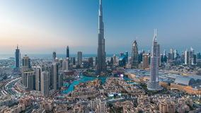 Dubai Downtown day to night timelapse view from the top in Dubai, United Arab Emirates stock video