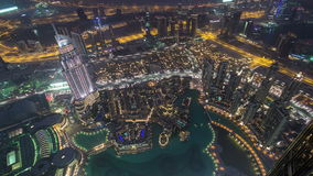 Dubai downtown from day to night transition with