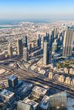 Dubai downtown. East, United Arab Emirates architecture. Aerial Stock Image