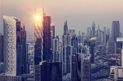 Dubai downtown in the evening Stock Image