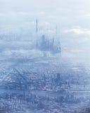 Dubai downtown in fog