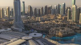 Dubai downtown morning scene timelapse. Top view from above. Dubai downtown morning scene timelapse with morern skyscrapers and old style buildings after sunrise stock footage