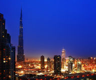 Dubai downtown at night Stock Photography