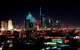 Dubai downtown night scene Royalty Free Stock Photos