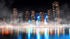 Dubai downtown night scene Royalty Free Stock Image