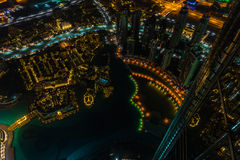 Dubai downtown night scene with city lights. Top view Royalty Free Stock Image