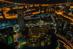 Dubai downtown night scene with city lights. Top view Stock Photography