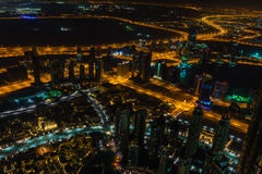 Dubai downtown night scene with city lights Stock Image