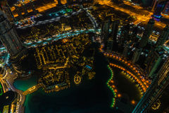 Dubai downtown night scene with city lights. Top view Royalty Free Stock Photos